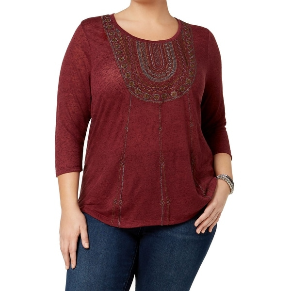 Shop Lucky Brand Red Burgundy Women s Size 3X Plus Embroidered Top ... 462dab674
