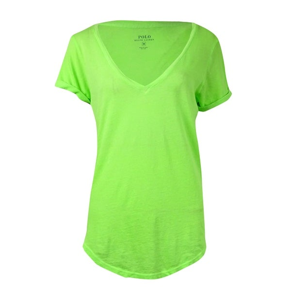 Polo Ralph Lauren Women's Basic V-Neck Rolled-Sleeves Tee