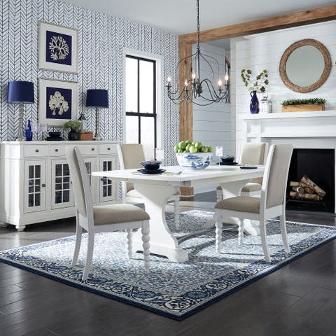 Harbor View II White Opt 5-piece Trestle Table Dining Set