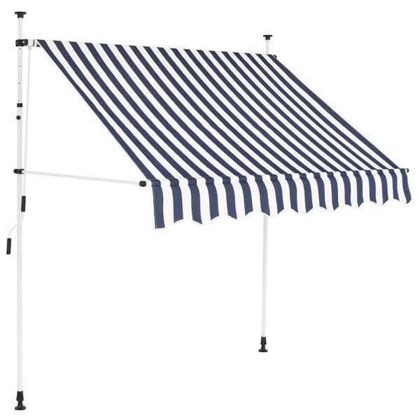 "vidaXL Manual Retractable Awning 78.7"" Blue-White Stripes"
