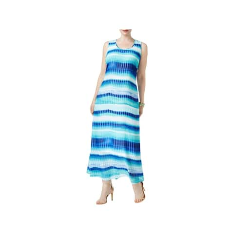 Calvin Klein Womens Plus Casual Dress Striped Sleeveless