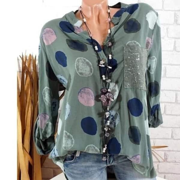 Plus Size Women/'s V Neck Polka Dot Short Sleeve T-Shirt Casual Loose Blouse Tops