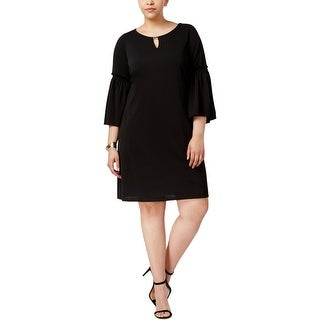 Calvin Klein Womens Plus Cocktail Dress Bell Sleeves Pullover