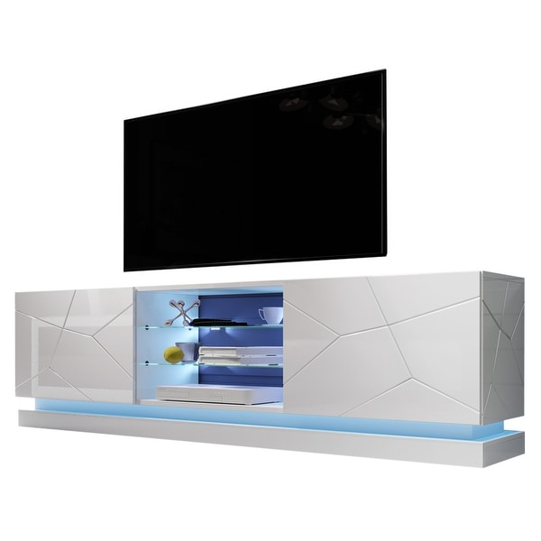 Qiu Modern Glossy White 63- OR 79-inch TV Console. Opens flyout.