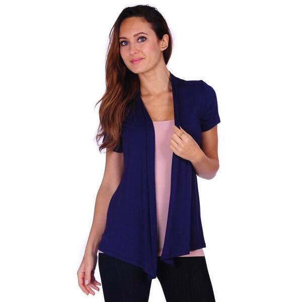 Simply Ravishing Women's Basic Short Sleeve Draped Open Front Cardigan (Size: S-3X). Opens flyout.
