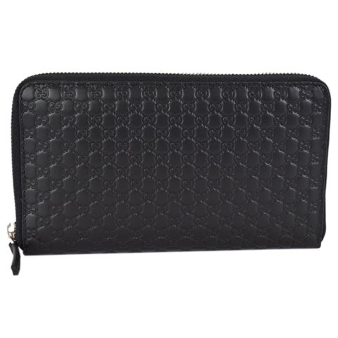 "Gucci 391465 XL Micro GG Black Leather Zip Around Travel Wallet Clutch - 8"" x 4.5"""
