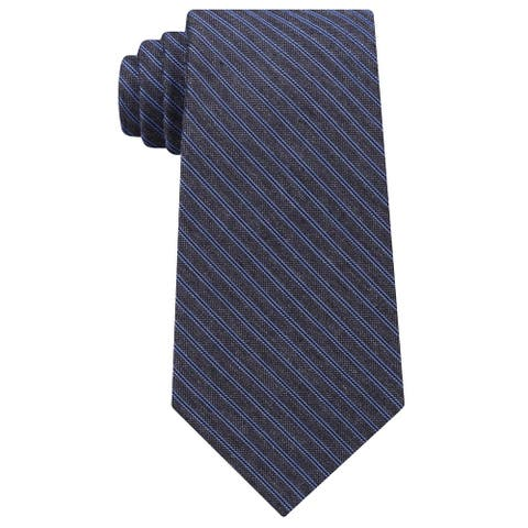 Michael Kors Men's Fine Stripe Melange Silk Tie Blue