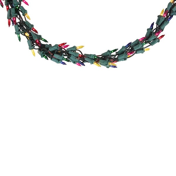 Set of 600 Multi-Color Mini Garland Christmas Lights - Green Wire - multi