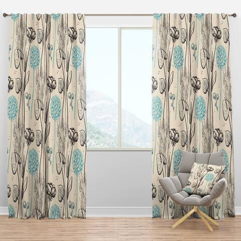 Designart 'Vintage Flower Pattern' Bohemian & Eclectic Blackout Curtain Panel