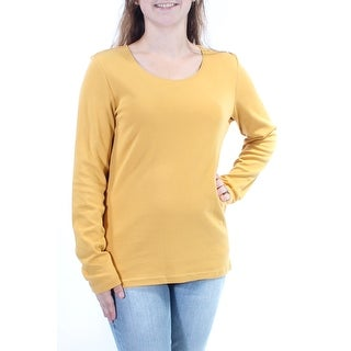 Womens Gold Long Sleeve Scoop Neck Top Size M