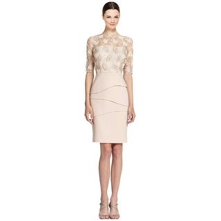 Teri Jon Lace Bodice Elbow Sleeve Tiered Cocktail Dress