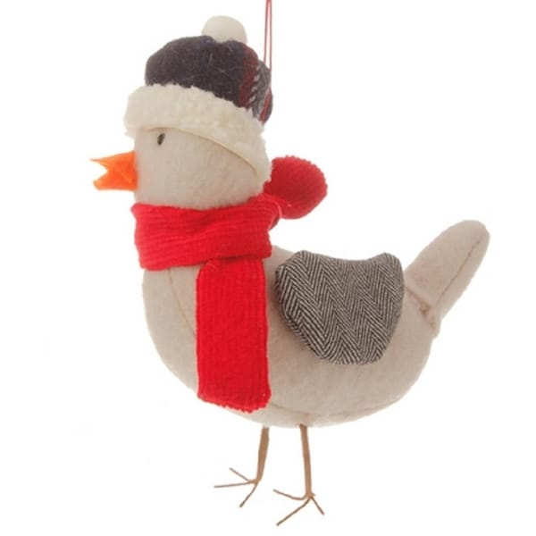 """4.75"""" Alpine Chic Gray Bird with Red Scarf and Herringbone Wings Christmas Ornament"""