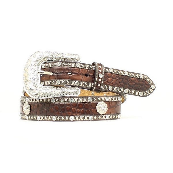 Nocona Western Belt Womens Leather Gator Crystals Mocha