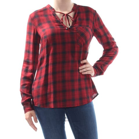 JESSICA SIMPSON Womens Red Ida Mixed Plaid Reverse Long Sleeve Top Juniors Size: M