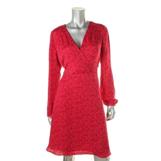Adrianna Papell Womens Printed Wrap Party Dress - 10