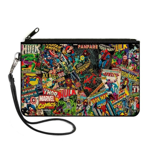 Retro Marvel Comic Books Stacked2 Canvas Zipper Wallet