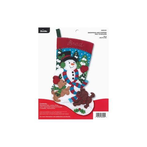 Bucilla Felt Kit Snowman & Puppies Stocking - White