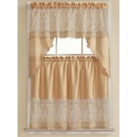 Orite 3-Piece Gold Embroidered Kitchen Curtain Set, Gold, Tiers 30x36, Swag 60x36 Inches