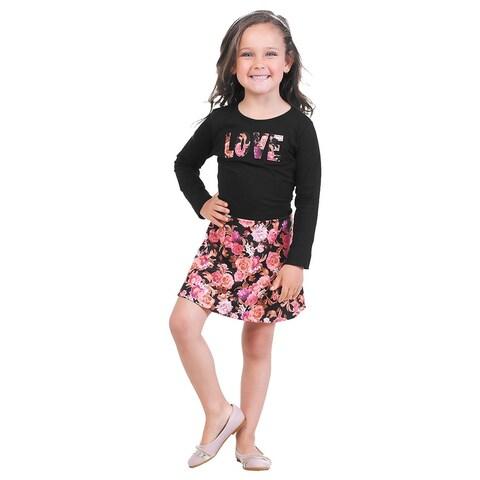 Pulla Bulla Little Girls' Long Sleeve Floral Dress