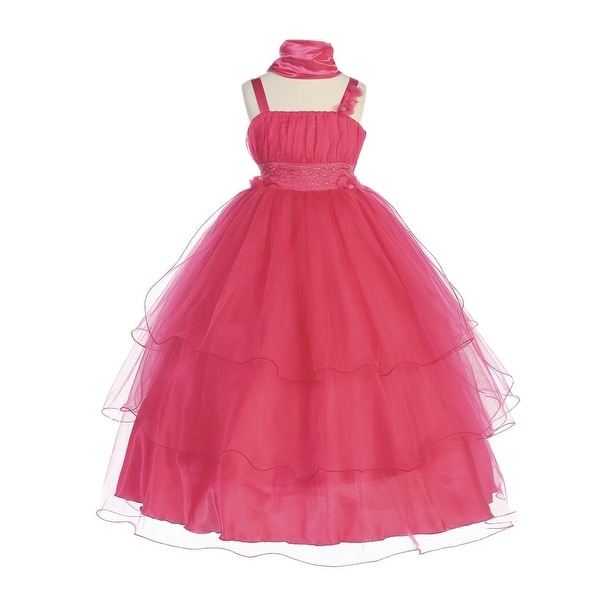 0a7fc493f9c Shop Bijan Kids Little Girls Fuchsia Tulle Rhinestone Adorned Flower Girl  Dress 2-4 - Free Shipping On Orders Over  45 - Overstock - 27102951
