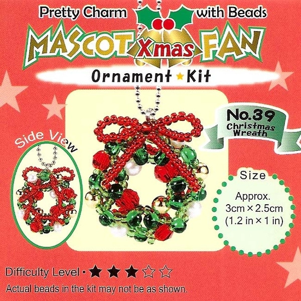 Create Your Own Miyuki Mascot Bead Charm Christmas Ornament Kit - Wreath