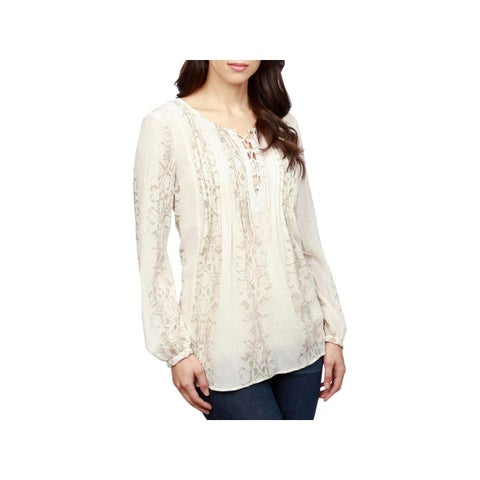 Lucky Brand Womens Pullover Top Chiffon Printed