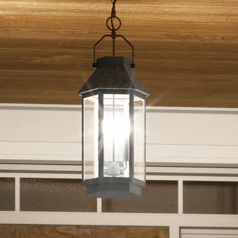"Luxury Tudor Outdoor Pendant Light, 22.75""H x 9.5""W, with Utilitarian Style, Peppered Black, UQL1484 by Urban Ambiance"