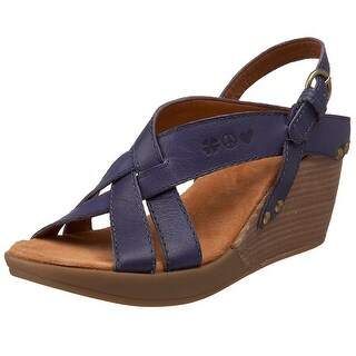 Lucky Brand Womens Bree Open Toe Ankle Strap Wedge Pumps, Deep Cobalt, Size 10.0