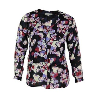 NY Collection Women's Floral Tiered Top - Black Multi
