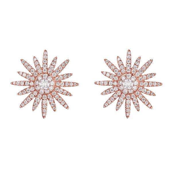 Prism Jewel 0.80CT G-H/SI1 Natural Round Diamond Designer Puch Back Starburst Earring - White G-H