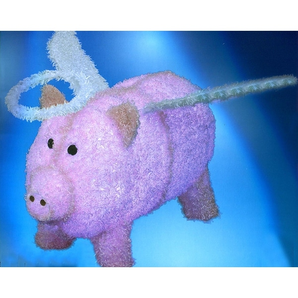 """28"""" Pre-Lit LED Outdoor Pink Chenille Angel Pig Christmas Outdoor Decoration"""