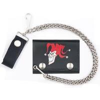 Joker Jester W Hat Trifold Biker Wallet W Chain Mens Leather #566