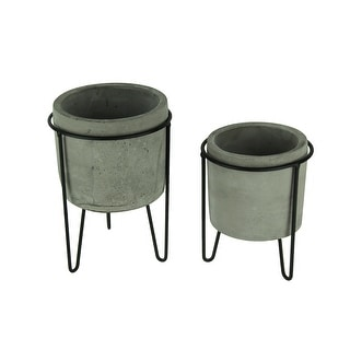Modern Cement Planters in Black Metal Stands Set of 2 - 8.5 X 6.25 X 6.25 inches