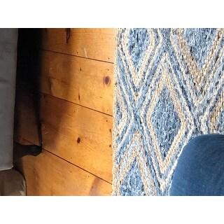 Safavieh Cape Cod Handmade Natural / Blue Jute Natural Fiber Rug - 9' X 12'