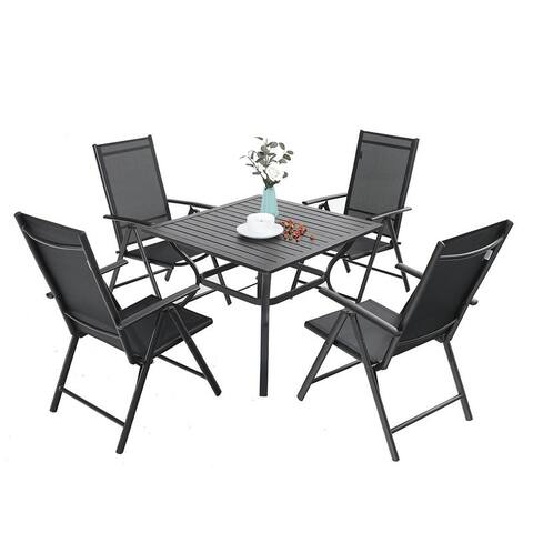 MFSTUDIO 5 Pieces Dining Set, 4 x Reclining Folding Sling Dining Chairs and 1 x Table with an Umbrella Hole
