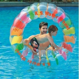 "49"" Multi-Colored Inflatable Kid-Ster Swimming Pool Water Wheel Float Toy"