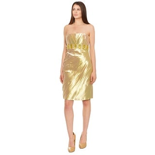 Badgley Mischka Dazzling Beaded Strapless Cocktail Evening Dress Gold - 4