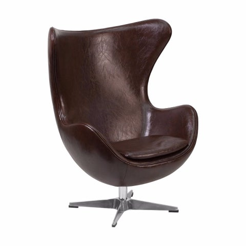 Offex Brown Leather Egg Chair with Tilt-Lock Mechanism [OF-ZB-11-GG]