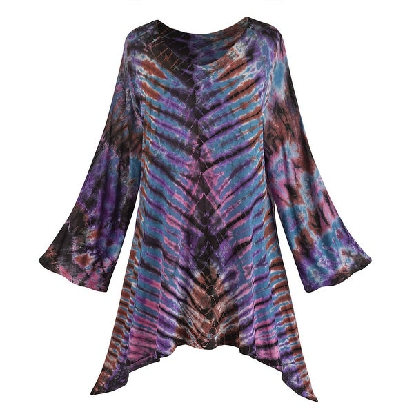Women's Tunic Top - Diagonal-Stripe Tie-Dye Sharkbite Hem Shirt