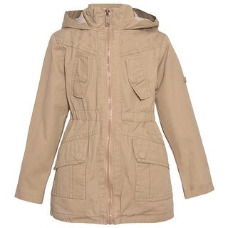 Urban Republic Little Girls Khaki Full Zipper Closure Hooded Coat