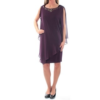 SLNY $119 Womens New 1516 Purple Rhinestone Sleeveless Shift Dress 2 B+B