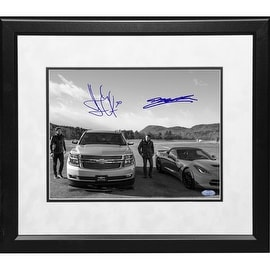 "Henrik Lundqvist/Jeff Gordon Dual Signed ""With Cars"" Framed 11x14 Print"