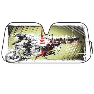 KM WORLD Licensed EXTREME BIKER Auto Shade Cool Trending Biker Cyclist Designs Sunshade with Reversible Silver Backing