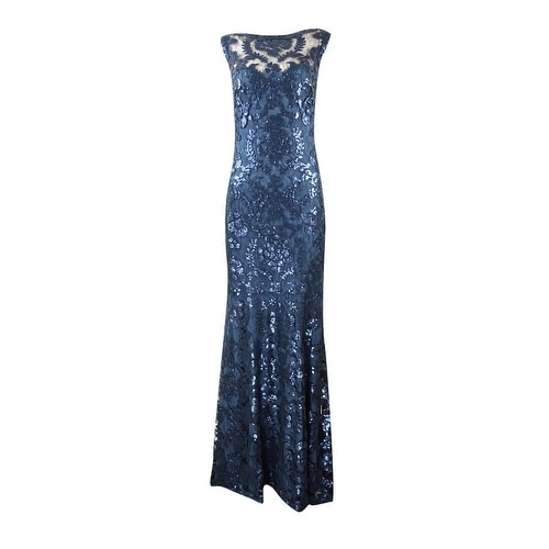 fb3f1a75ddf Shop Tadashi Shoji Women s Sleeveless Illusion Sequined Gown - starry night  - 4 - Free Shipping Today - Overstock - 16656233