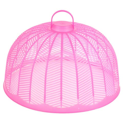 Household Kitchen Plastic Mesh Semicircle Shaped Food Cover Dish Meals Pink