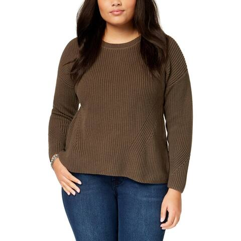 Lucky Brand Womens Plus Pullover Sweater Ribbed Lace-Up - 3X