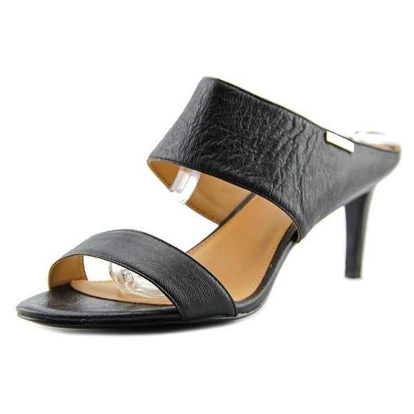 Calvin Klein Cecily Women Open Toe Leather Black Sandals