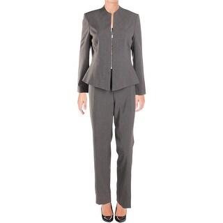 Tahari ASL Womens Petites Pant Suit Peplum Work Wear