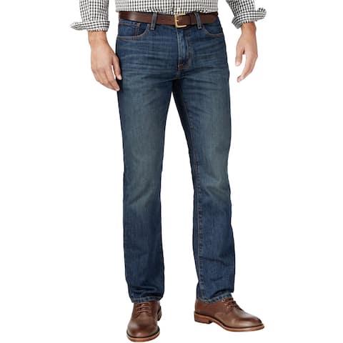 Tommy Hilfiger Mens 5-Pocket Straight Leg Jeans, Blue, 42W x 30L - 42W x 30L