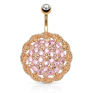 Large CZ Pave Floral Shield Surgical Steel Belly Button Navel Ring - 14GA (Sold Ind.)